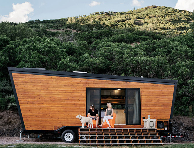stylish mobile home on a hill side