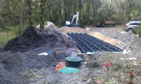 Installing Sewer System Septic Tank And Drainfield